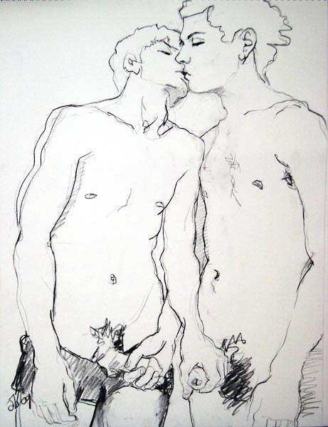Erotic male nude drawings