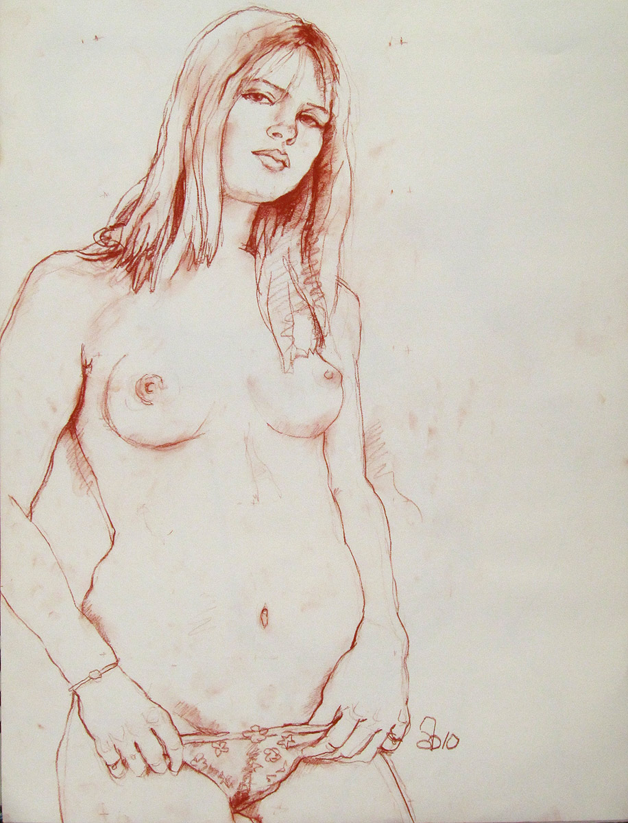 Nude girl drawing adult picture